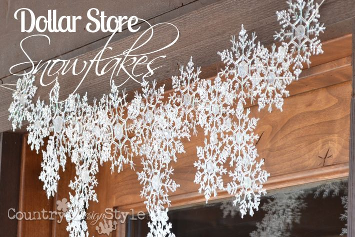 Dollar store snowflakes first glued to the counter tops are now hanging over our front door. Great idea to replace the Christmas wreath.