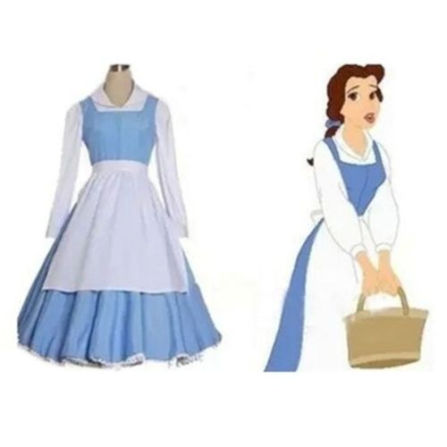Adult Beauty and The Beast Belle Blue Maid Dress Cosplay Costume Custom Made | eBay