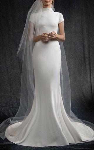High Neck Cap Sleeve Gown by Elizabeth Kennedy