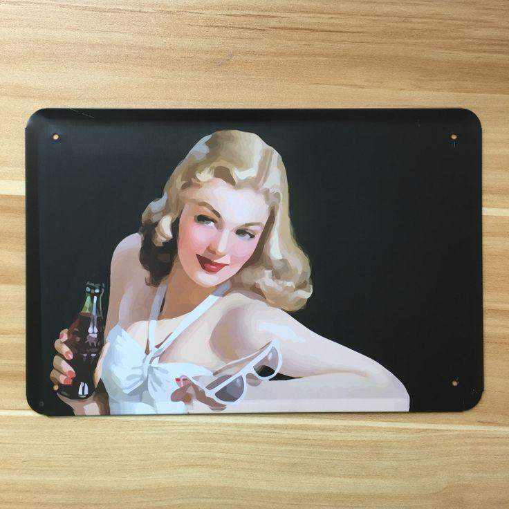 Старинные картины железный дом Кафе-Бар старинные плакат Sexy lady бикини питьевой Металла Олово войти wall art decor 20*30 СМ Бесплатный доставка