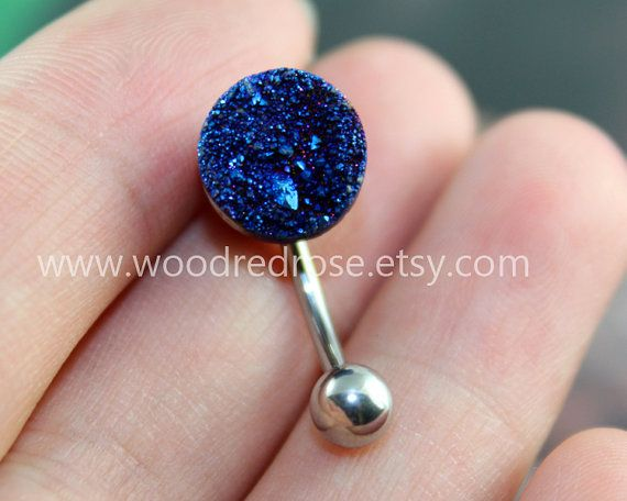 Druzy Belly Button JewelryBlue druzy belly by woodredrose on Etsy