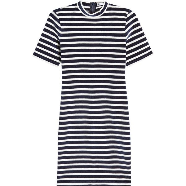 T by Alexander Wang Striped Velvet Dress ($269) ❤ liked on Polyvore featuring dresses, stripes, stripe dress, velvet mini dress, t shirt dress, striped t-shirt dresses and t-shirt dresses