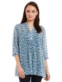 Ella J Classic Printed Longline Chiffon Top with a Front Pleat product photo