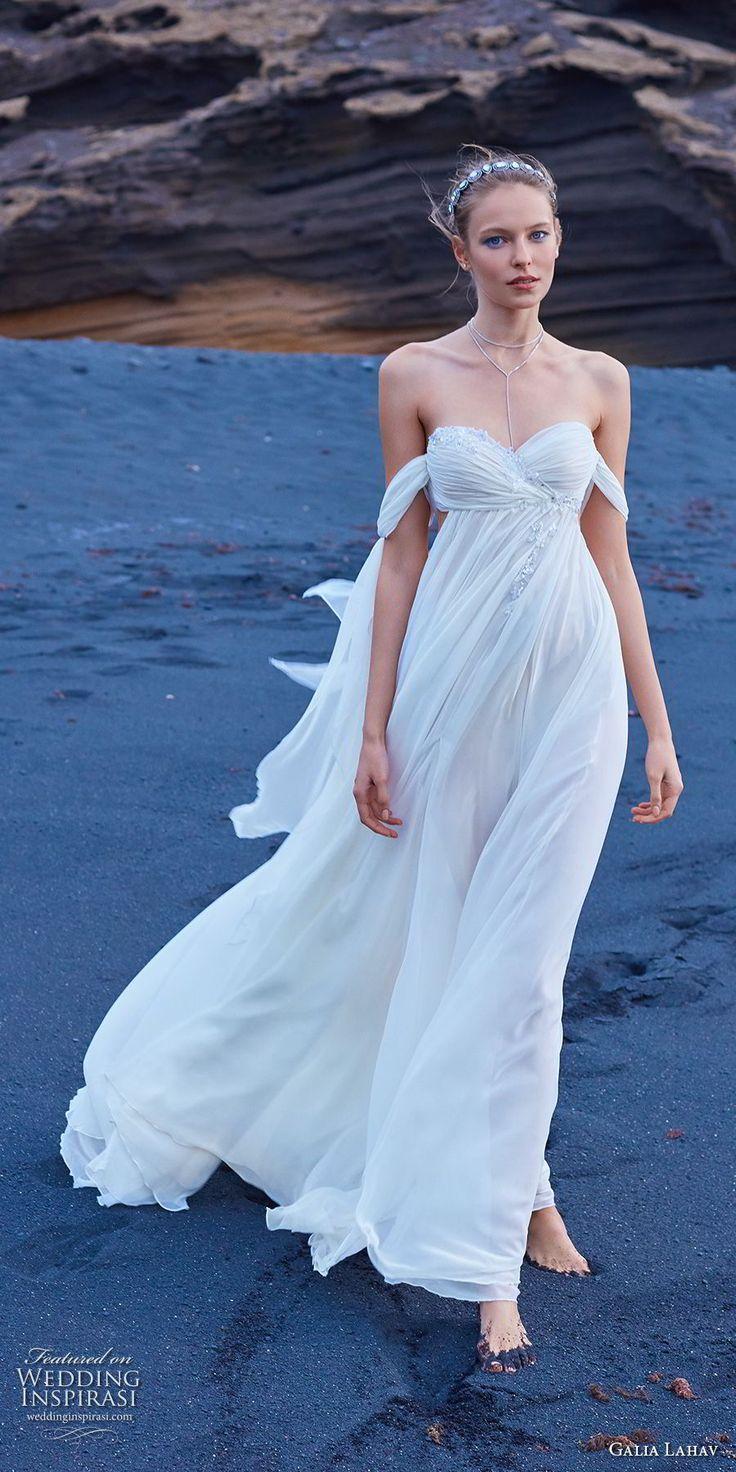 galia lahav gala 2018 bridal off the shoulder sweetheart neckline ruched bodice grecian elegant empire wedding dress chapel train (5) mv -- Gala by Galia Lahav Collection No. 5 Wedding Dresses