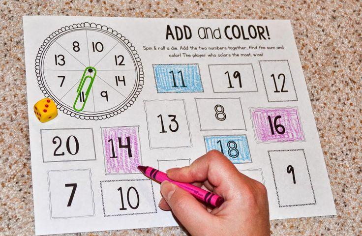 Tel op en kleur. Dit spel wordt per twee gespeeld. De leerlingen draaien elk om de beurt aan de paperclip en gooien met de dobbelsteen. Ze tellen beide getallen op. Wanneer dit getal op hun kaart staat kleuren ze dit in, in hun eigen kleur. Degene die op het laatste het meeste vakjes heeft ingekleurd wint. We kunnen dit spel ook aanpassen en bijvoorbeeld de tafels t.e.m. 6 oefenen op deze manier.