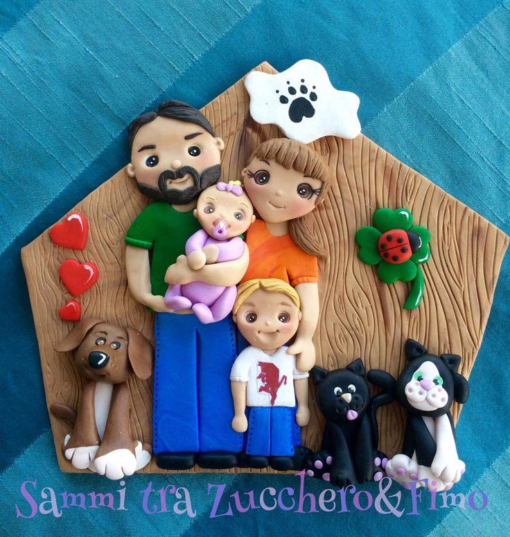 Targa famiglia e animaletti in fimo polymer clay family pets handmade fimo