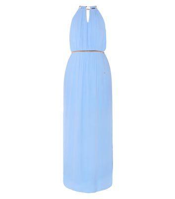 Pale Blue Contrast Trim Halterneck Keyhole Front Grecian Maxi Dress
