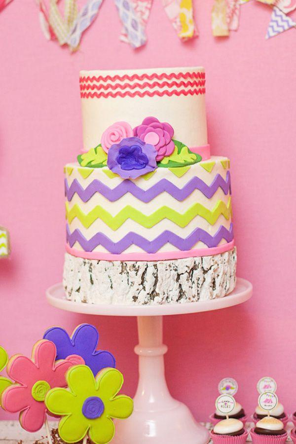 emily maynard glam camping birthday party chevron cake