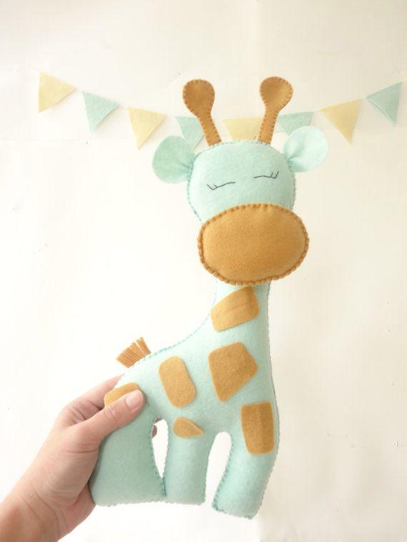 Giraffe Stuffed Toy, Felt giraffe, plush toy, nursery decor, giraffe, custom colors, nursery room decor by LaPetiteMelina