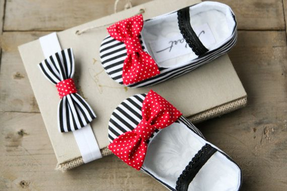 Nautical baby girl shoes, headband and pacifier clip, nautical baby shower gift, black white red baby shoes, baby sailor outfit