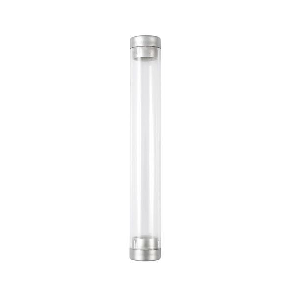 COD.BM031 Tubo de Acrílico traslúcido para 1 bolígrafo. Tapas plateadas con superficie lisa. No incluye Bolígrafo.