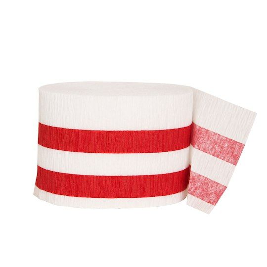 Crepe Paper Red Striped Party Streamers, 30 Ft.