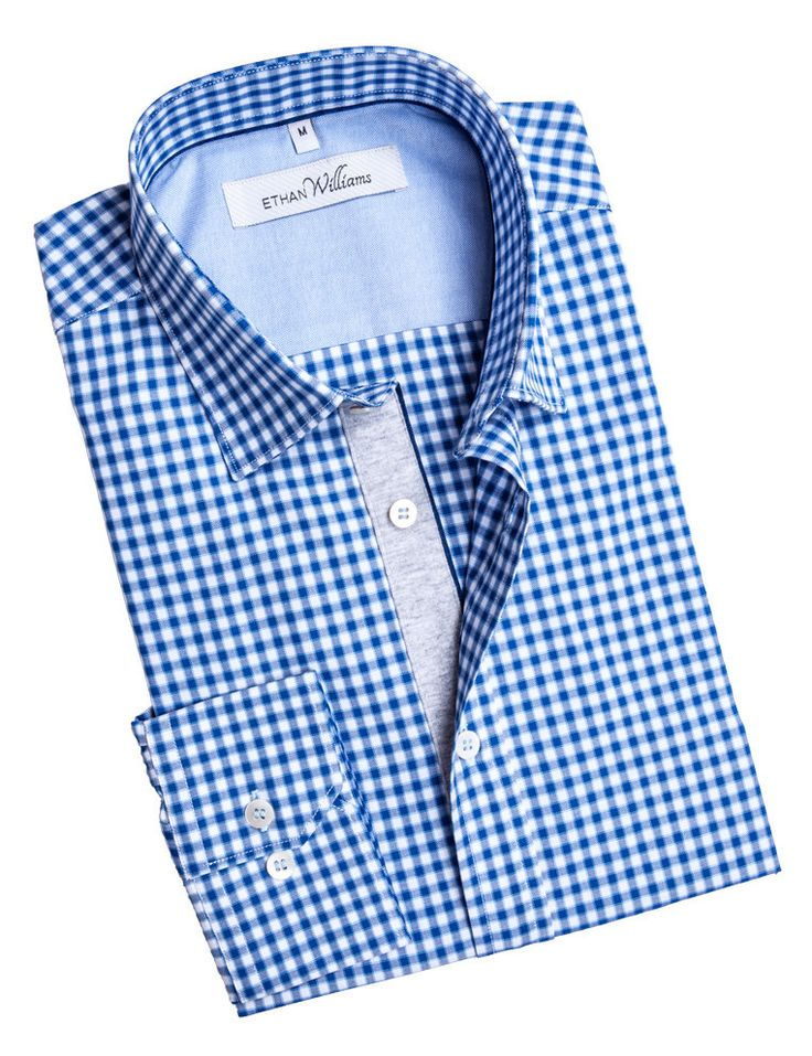 Ethan Williams Blue Oxford shirt for men with Mother of Pearl buttons - Eloise