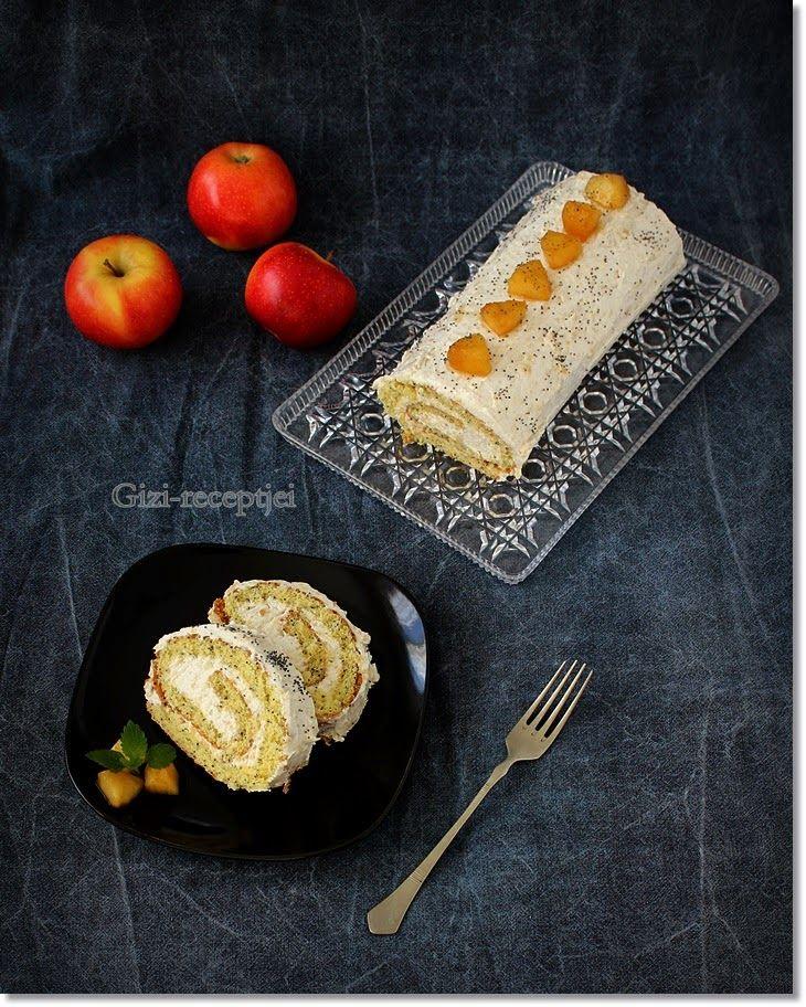 Gizi-receptjei.  Várok mindenkit.: Mákos piskótarolád almás mascarponekrémmel.