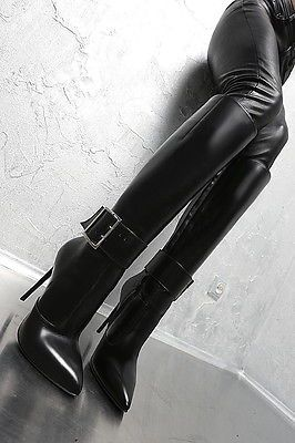 LEDER HOHE STIEFEL SCHWARZ 1969 ITALY DAMEN BOOTS LZ8 LEATHER SEXY HIGH HEELS