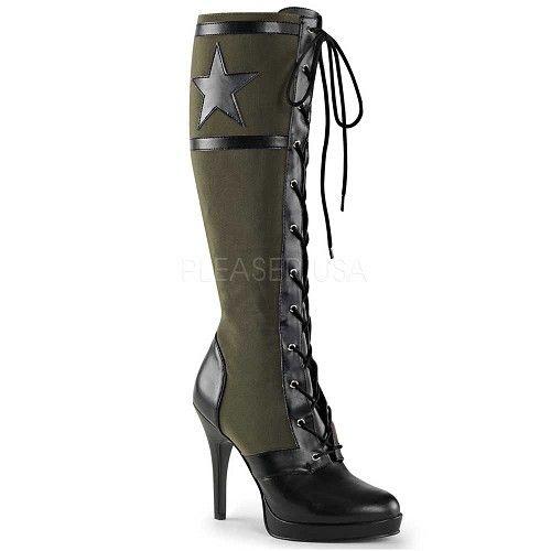 Arena-2022 hoge knie laarzen met vetering and ster detail groen/zwart - Glamrock Gothic