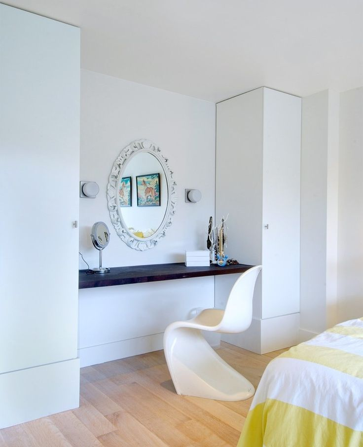 Dressing Table Closet Transitional with Blue Curtains Natural Finish Charging Stations