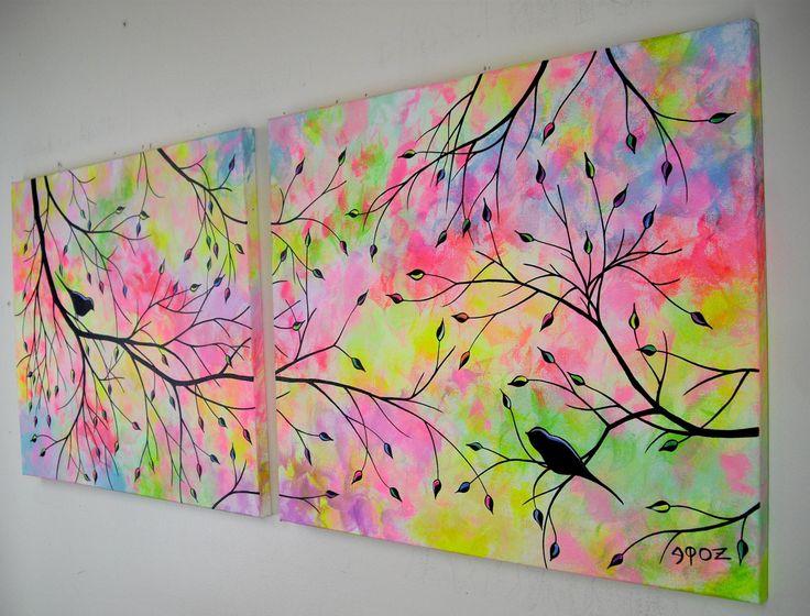 Silueta de aves gran amor abstracto en la pintura de acrílico