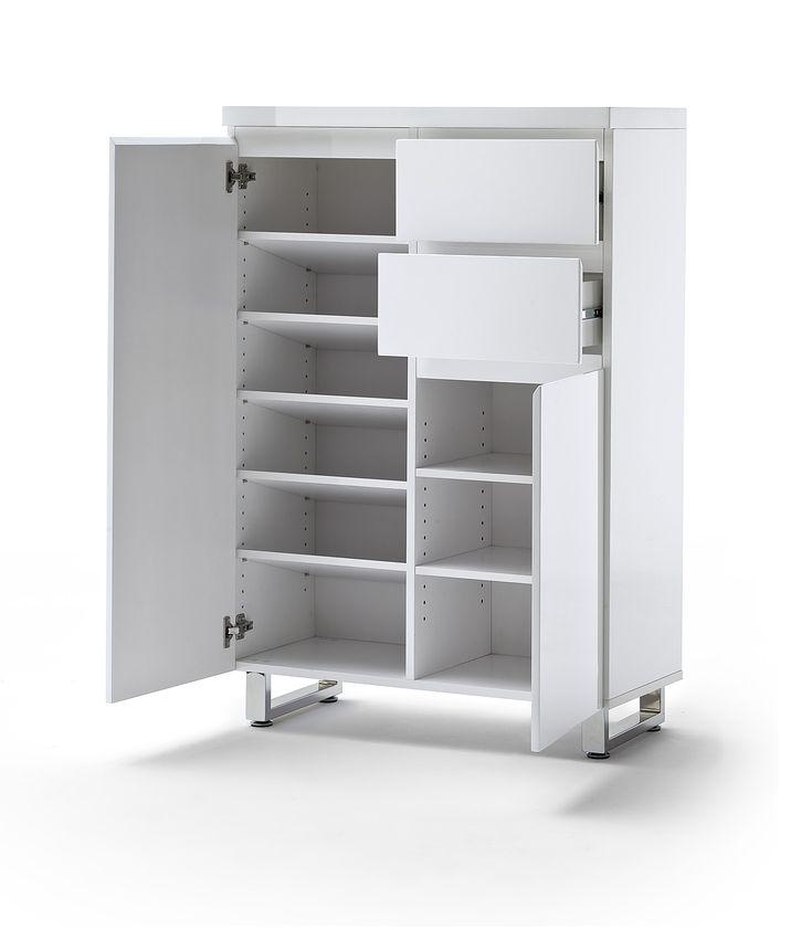 Schuhschrank Bianco IV Hochglanz Weiß Passend Zum Möbelprogramm Bianco 1 X  Schuhschrank Mit 2 Türen 2