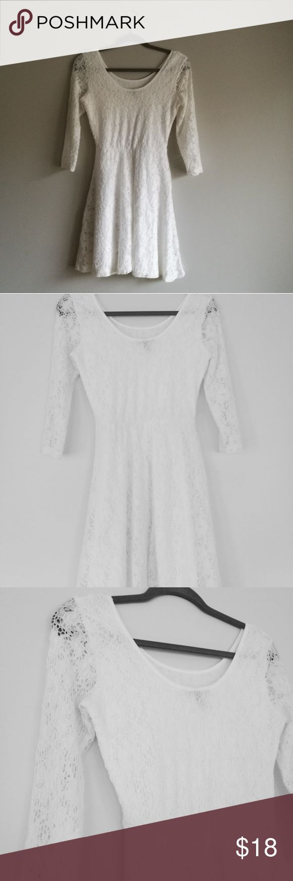 Juniors White lace skater dress size S Perfect dressy or casual wear.  Juniors skater dress, scoop neck and soft in white lace.  Lace:90% nylon 10% spandex Lining: 100% polyester Derek Heart Dresses Midi