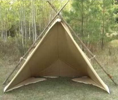 The Woodsman Tarp Tent. Made of durable, tightly woven 7oz canvas. Marine grade, preshrunk, treated for water repellency and mildew resistance with Sunforger. 10' x 13'. $250
