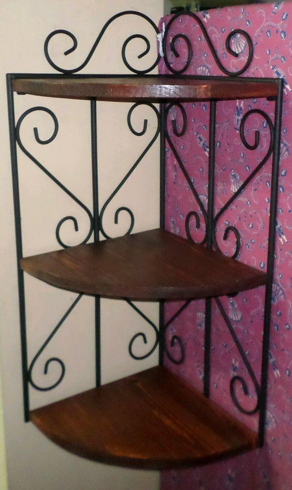 Mensola ripiano scaffale ad angolo da parete in ferro battuto e legno