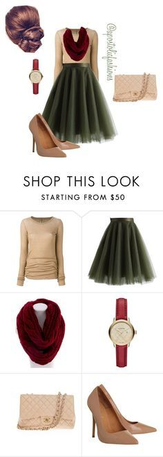 """Apostolic Fashions #1092"" by apostolicfashions ❤️ liked on Polyvore featuring Rick Owens, Chicwish, Essie, Burberry, Chanel and Office // Christmas Outfit // Winter outfit // fall outfit // November outfit // December outfit // scarf outfit // skirt outfit // winter skirt outfit // holiday outfit"