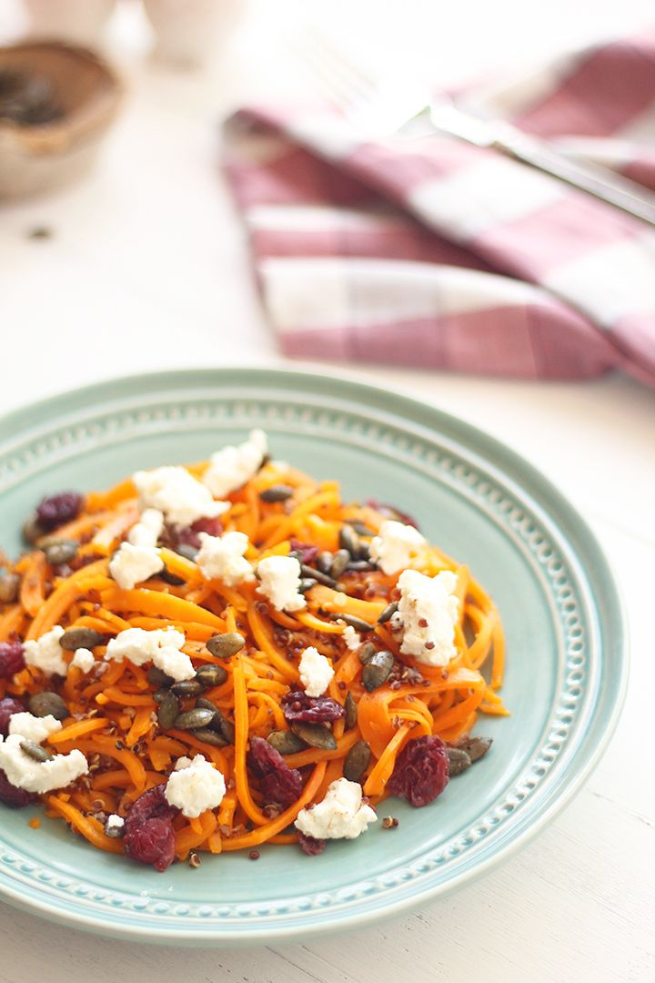 Roasted Butternut Squash Noodles & Quinoa with Spiced Pumpkin Seeds ...