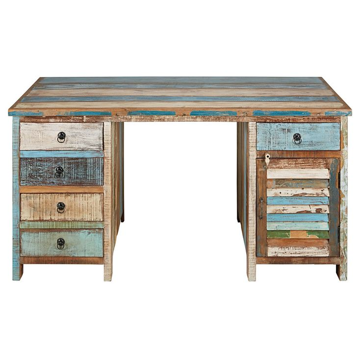 Painted recycled wood 1-door 5-drawer desk | Maisons du Monde