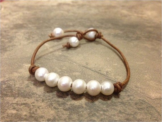 SALE - Leather and Pearl Jewelry - Leather Bracelet - BoonMee