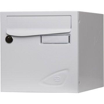 Boîte aux lettres RENZ Essentiel normalisée blanc en acier, 2 portes