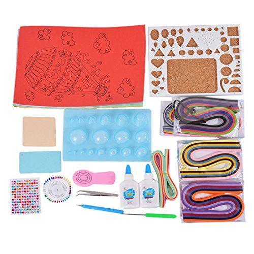 souarts Papier Quilling Kits mit gemischten Streifen Board Form-Crimper Coach Kamm