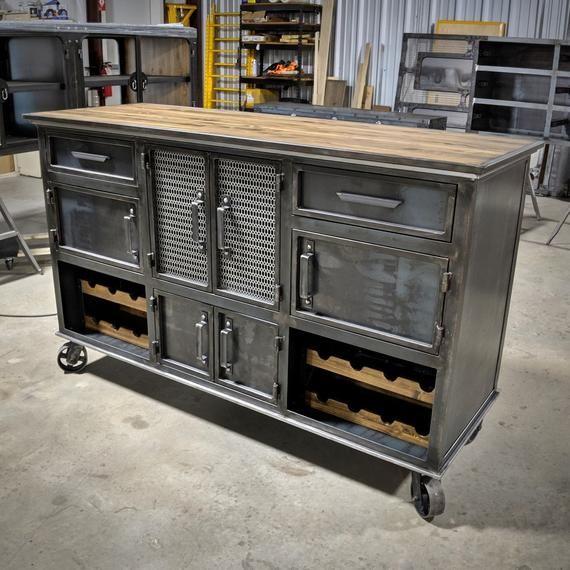 Modern Industrial Wine Cabinet The Speakeasy Credenza Bar Etsy In 2020 Industrial Furniture Modern Industrial Furniture Modern Industrial