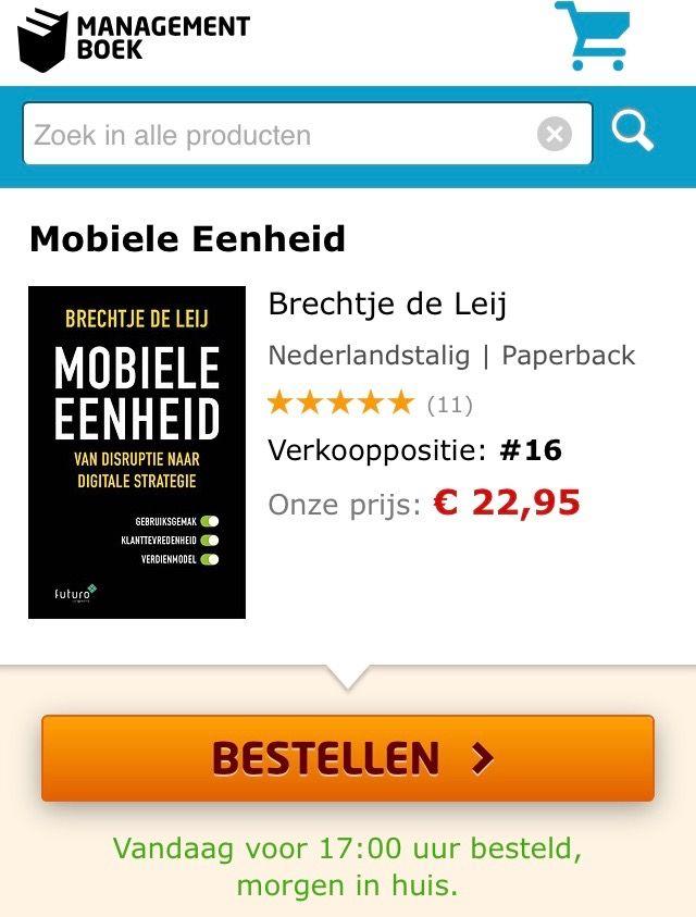 Super, het boek 'Mobiele Eenheid' van Brechtje de Leij stijgt met stip naar verkooppositie 16 in de Bestseller TOP100 van Managementboek. #mobieleeenheid #brechtjedeleij #mgtboeknl #futurouitgevers