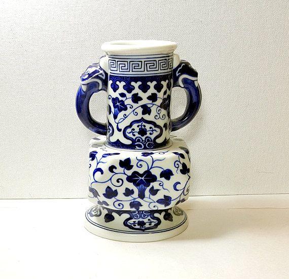 BLUE & WHITE VASE Vintage Asian Vase Blue and White Bud Vase Mothers Day Gift Idea