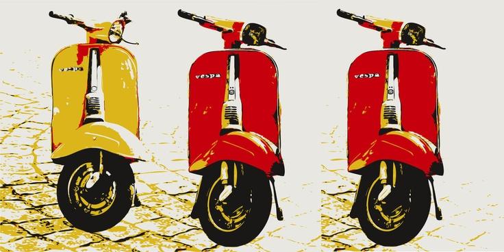Typical Italian Vespa, pop art style