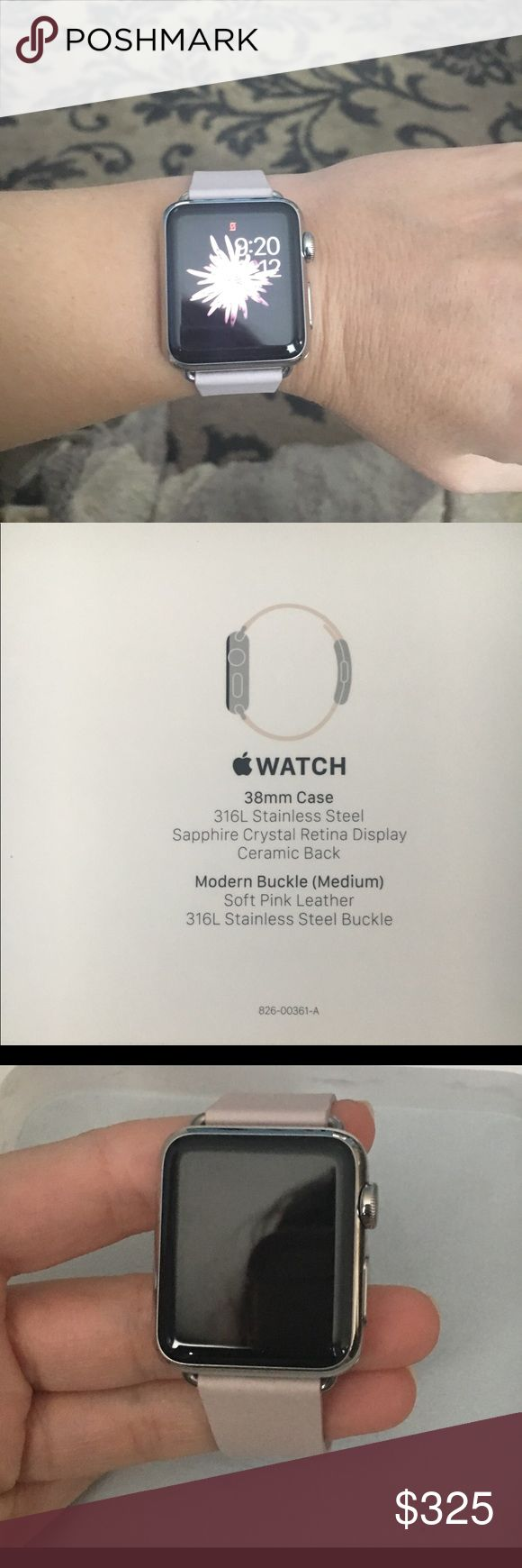 1st series, never worn Apple Watch. Priced a bit higher due to a leather band versus a sports band. Never worn. 38mm  Stainless Steel Buckle Sapphire Crystal Retina Display Ceramic Back Soft Pink Leather Band (medium) Original box and charger Apple Jewelry