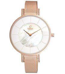 Obaku Denmark Womens V158LEVWMV Rose Gold Stainless Steel Case White Dial Watch