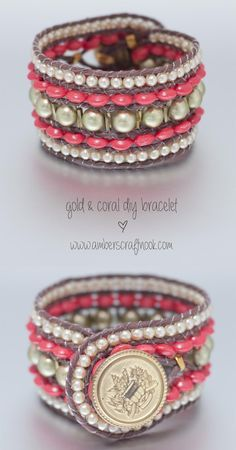 DIY Gold and Coral Wrap Bracelet with Tutorial