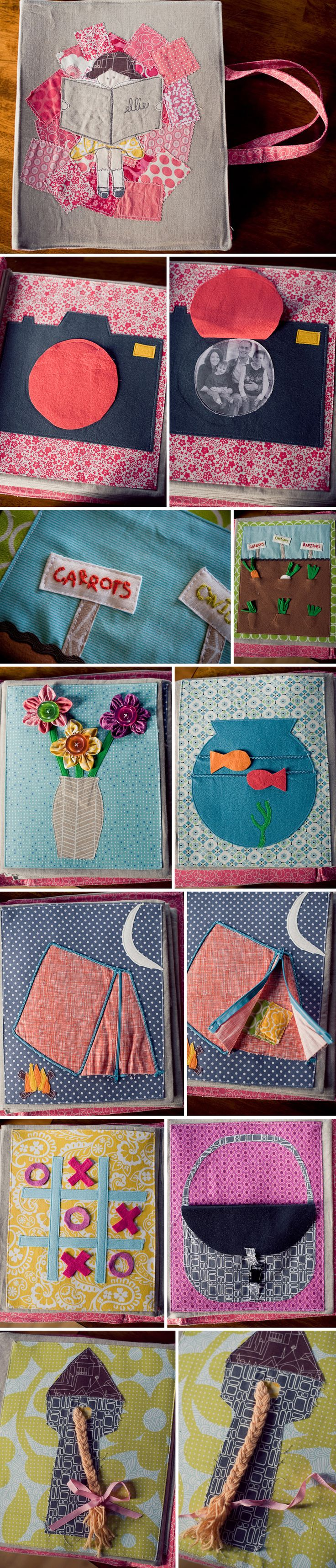 I like the fish page. I want to have some sort of family picture page (I've seen cameras, peekaboo hands, and houses/doors.) but I'd make it a clear pocket so you can switch out the picture.