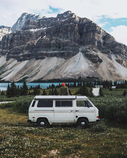 Travel the world adventure explore the mountains go camping like a Bohemia bohemian gypsy hippie in a VW van Volkeswagen bus