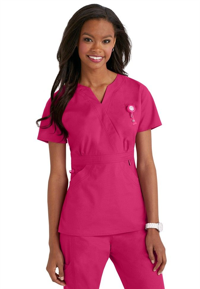 Life is Peachy- Madi scrub top in Pozatively Pink #spring #scrubsandbeyond