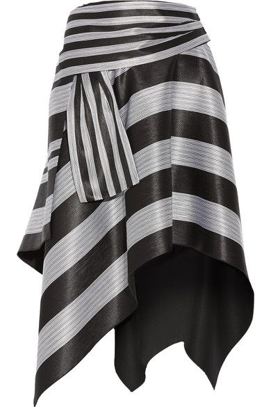 """Proenza Schouler's Striped Skirt was Inspired by handcrafting techniques discovered in Paris, this style is cut from striped jacquard and subtly folded to create a defined shape around your waist and hips. Wear it with a Black Leather Top with Wide Shoulders, Long Gigot Sleeves, a deep Sweetheart Neckline and Fitted Bodice. Finish with Rock Crystal """"Cobblestone"""" Jewelry, Black Ankle Boots and a Silver Slouch Bag (It's all on this board). You won't see anything like this tonight. - Gabrielle"""
