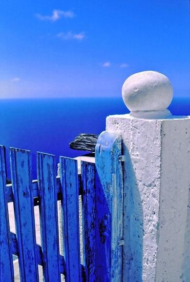 ON THE BUCKET LIST TO GO TO GREECE Greek blue gate with wandering clouds by Silvia Ganora