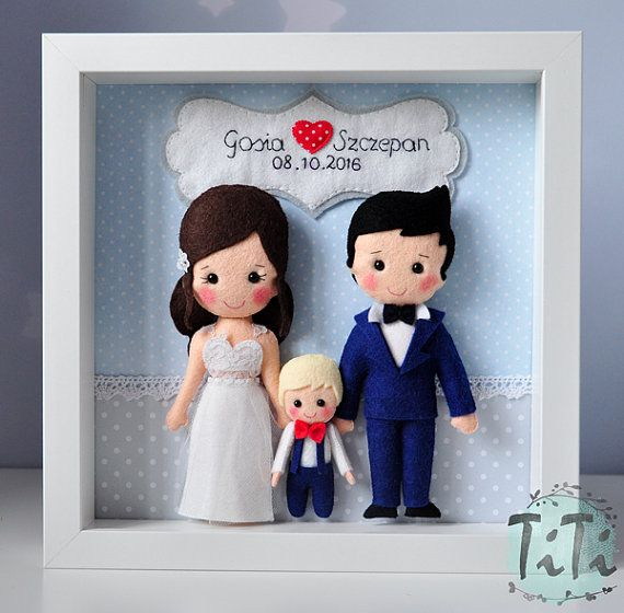 Personalized felt frame box with the newlyweds and wedding date. This is a unique wedding memory gift . Frame contains handmade felt elements (Bride & Groom, wedding date on the banner) and paper background.  Felt Bide & Groom made to order. You can choose the colours and the pattern. Please contact me about the details. Frame 23x23cm.    Design TiTi © 2016 All right reserved-do not copy.