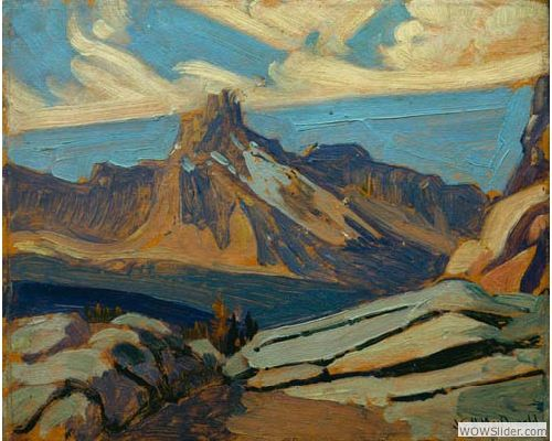 Painting Canada: Tom Thomson and the Group of Seven     J.E.H. MacDonald (1873-1932), Cathedral Mountain, 1927, Oil on paperboard, 21.4 x 26.6 cm, Gift of Mr. R.A. Laidlaw, McMichael Canadian Art Collection