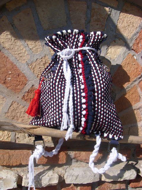 weaving wall art and bags:          Χειροποίητη υφαντή τσάντα πλάτης με 100% ...
