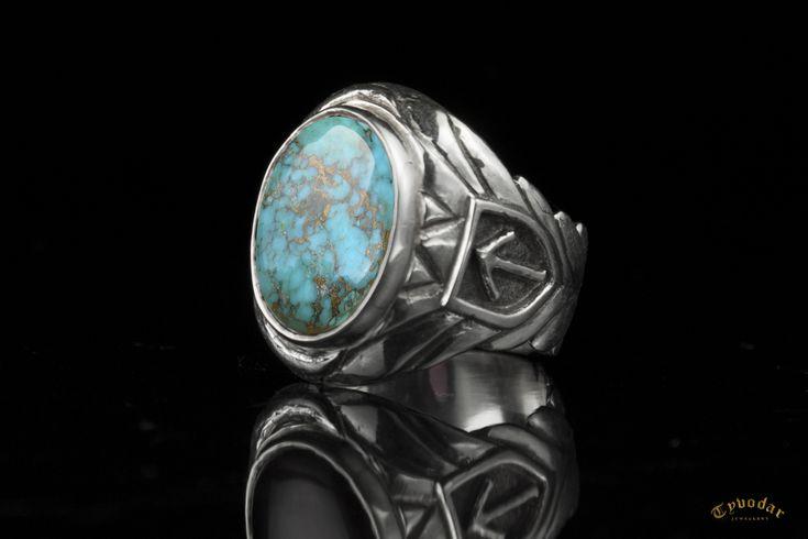 VIKING RING (srebro 925/turkus ) - PERSONALIZOWANY SYGNET WIKINGÓW, BIŻUTERIA WIKINGÓW