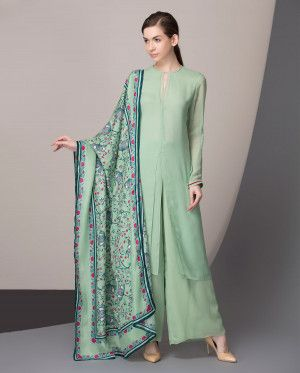 Apple Green Palazzo Suit with Printed Dupatta