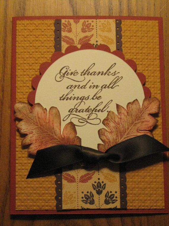 Stampin Up Thanksgiving Cards | ... Card Leaves Leaf Mom Dad Grandmother Sister Brother Stampin Up